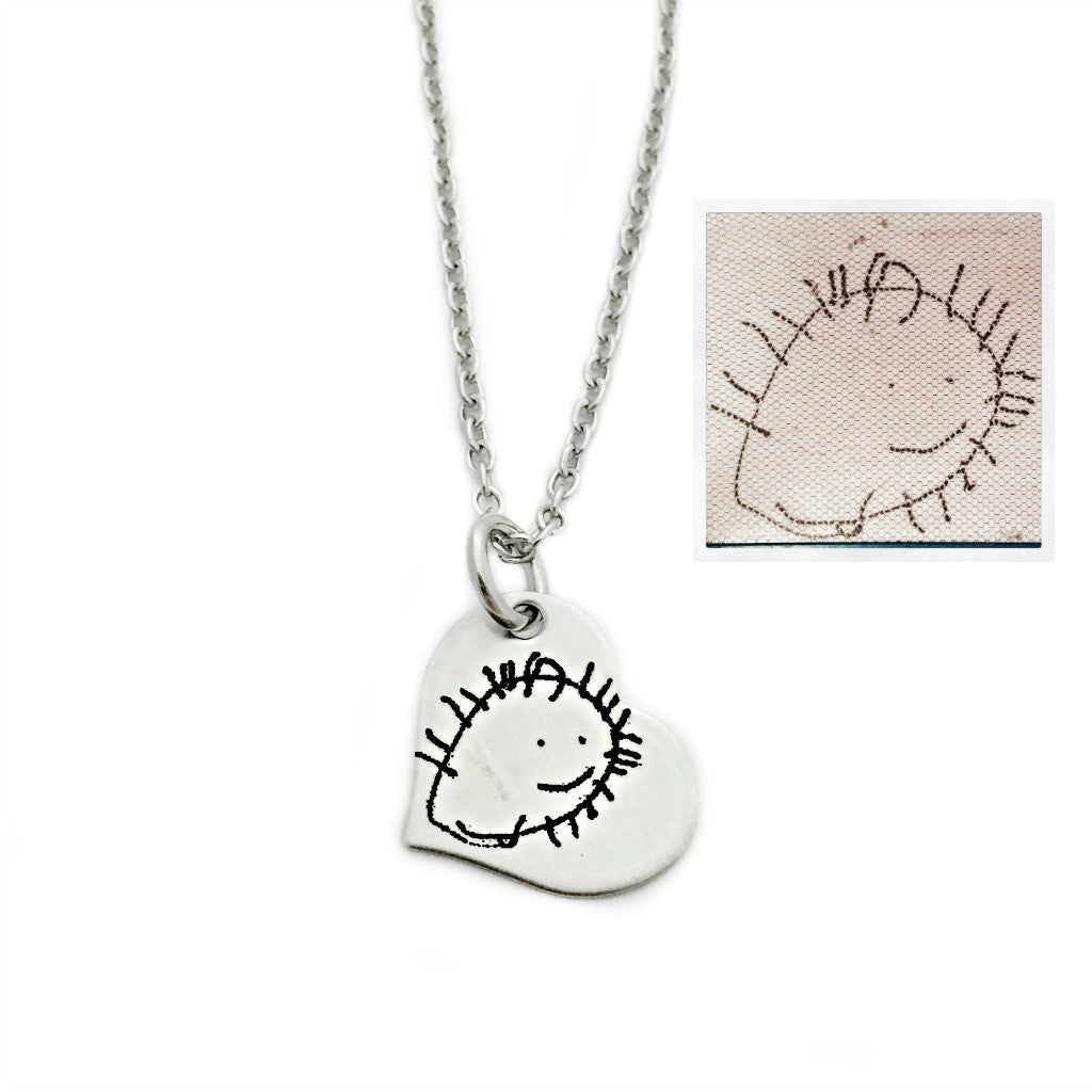TINY HEART CHILD'S ARTWORK NECKLACE