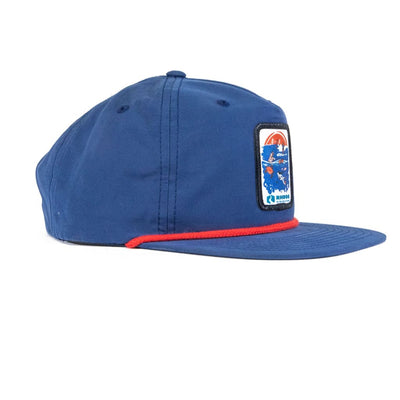 Rheos Patch Snapback Hat | Navy and Red - Hats