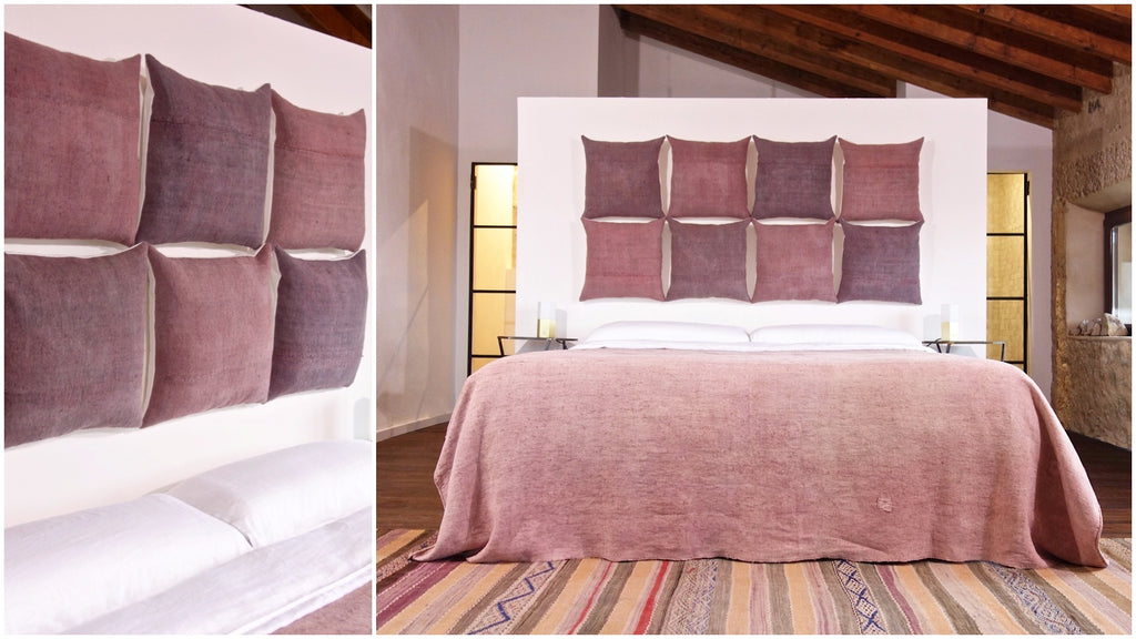 espanyolet | cloth & clay | handcrafted in Mallorca | one-of-a-kind hand painted vintage linen | hand-formed ceramics
