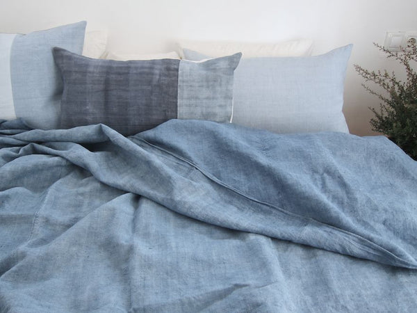 espanyolet handmade antique linen bed cover | sea blue duo
