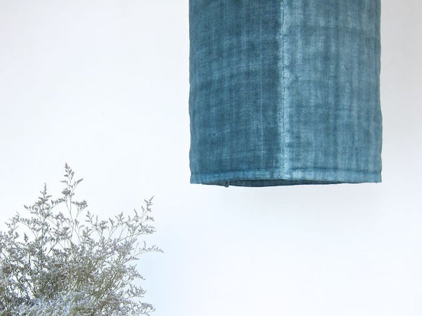 espanyolet handmade antique linen lamp | slate blue + green