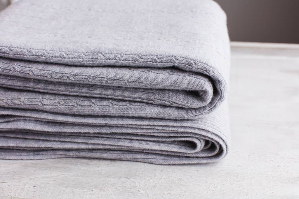 Grey Cable Cashmere Blanket