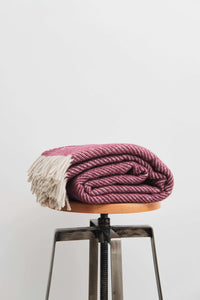 Plum Diagonal Stripe Wool Throw