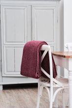 Load image into Gallery viewer, Plum Diagonal Stripe Wool Throw