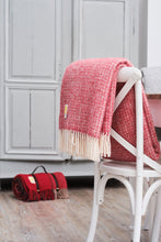 Load image into Gallery viewer, Red and Grey Pure New Wool Throw