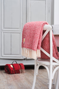 Red and Grey Pure New Wool Throw