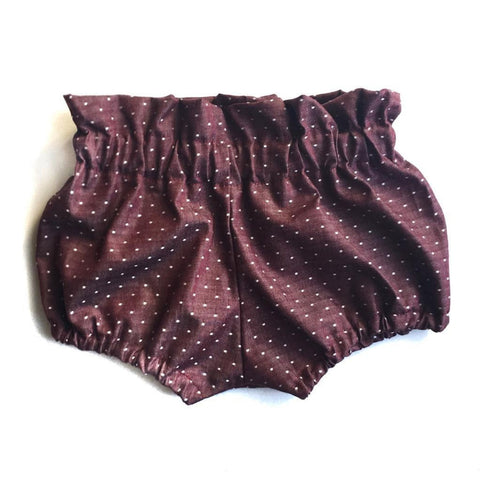 Burgundy Chambray Dots Bloomers
