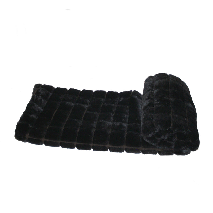 Fur Throw 'Mink Patchwork Black' - MONTAGUE & CAPULET- - 1