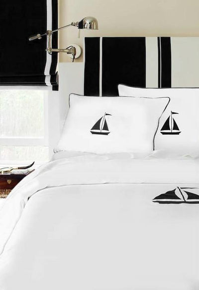 Yacht Collection Duvet - MONTAGUE & CAPULET-Twin/TN XL / Black / Sailboat - 8