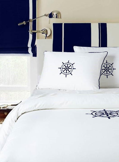 Yacht Collection Duvet - MONTAGUE & CAPULET-Twin/TN XL / Navy / Shipwheel - 5
