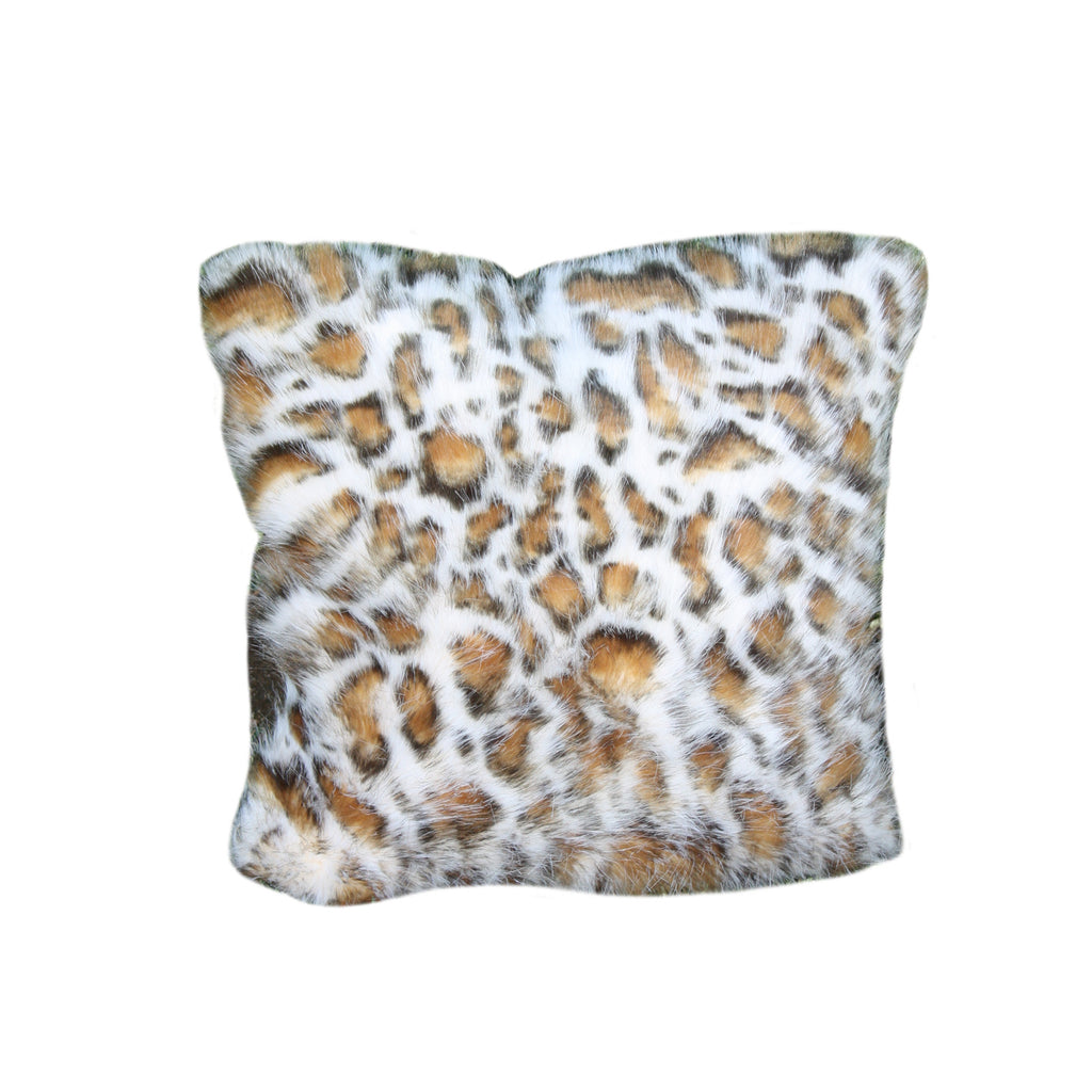 Fur Pillow 'Eyelash Leopard Pearl' - MONTAGUE & CAPULET- - 1