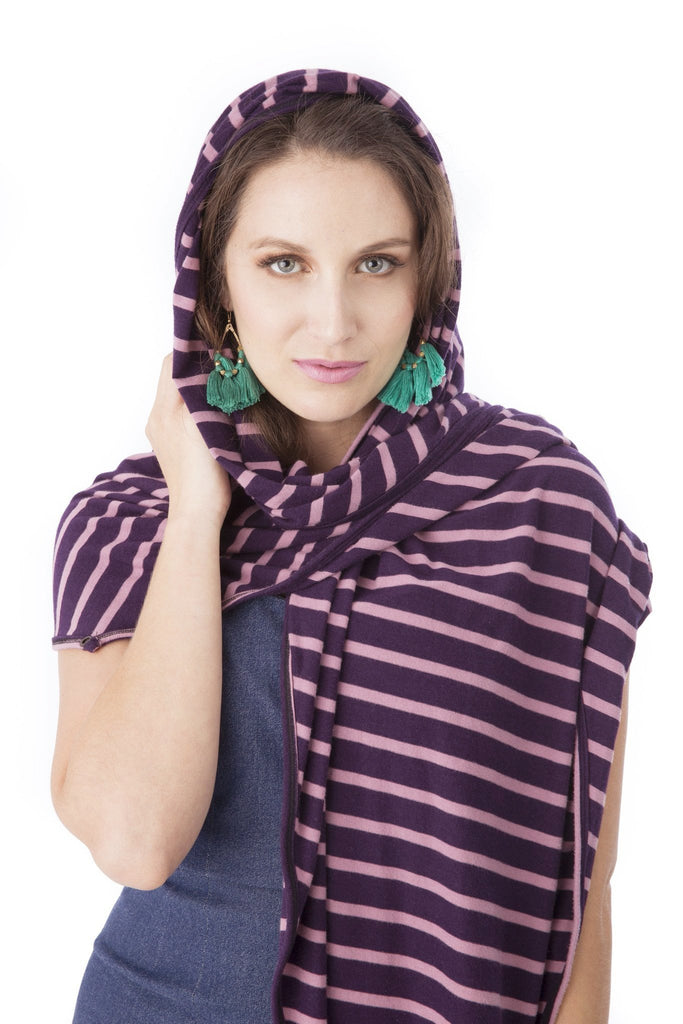 Mamachic Fly - Lightweight striped all-in-one scarf, nursing cover, burp cloth, swaddle blanket