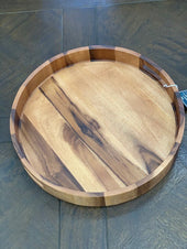 Acacia Wood Round Serving Tray