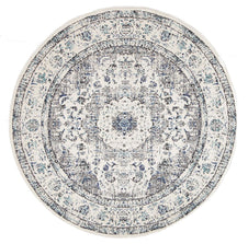 Traditional Hamptons Rug - Round White