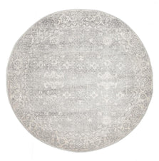 Traditional Hamptons Rug - Round Silver