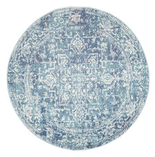 Traditional Hamptons Rug - Round Blue