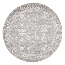 Traditional Hamptons Rug - Round Grey