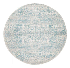 Traditional Hamptons Rug - Round Pale Blue