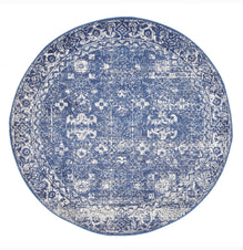 Traditional Hamptons Rug - Round Navy
