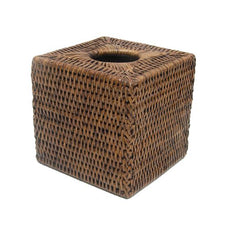 Square Tissue Box - Dark Rattan