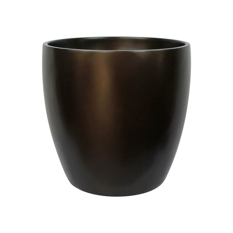 Root and Stock Napa Round Cylinder Brown Planter