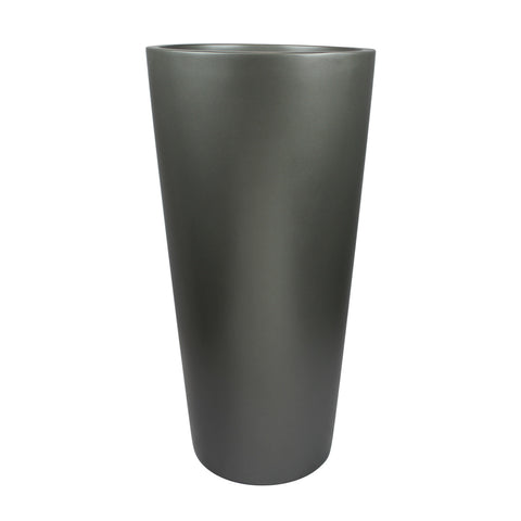 Root and Stock Sonoma Tall Round Cylinder Grey Planter