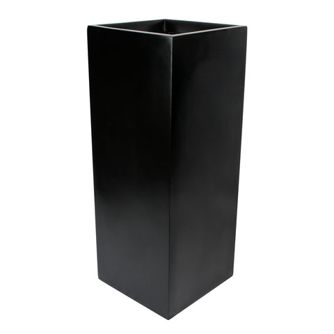 Root and Stock Belvedere Tall Square Cube Planter Box Black Angle