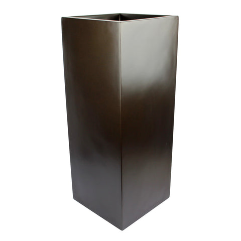 Root and Stock Belvedere Tall Square Cube Planter Box Brown Angle