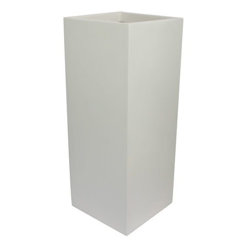 Root and Stock Belvedere Tall Square Cube Planter Box White Angle