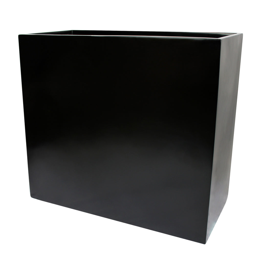 root and stock calistoga tall rectangle planter box  black -