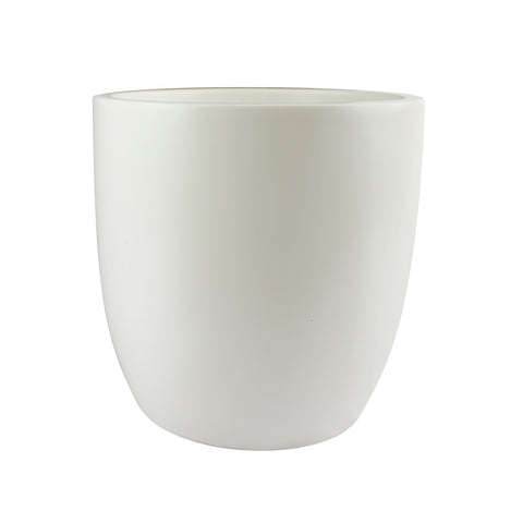 Root and Stock Napa Round Cylinder White Planter