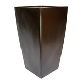 Root and Stock Orinda Tall Square Curved Planter Brown Angle