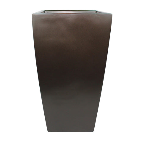 Root and Stock Orinda Tall Square Curved Planter Brown Front