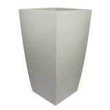 Root and Stock Orinda Tall Square Curved Planter White Angle