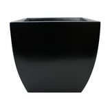 Root and Stock Pacifica Square Curved Planter Box Black Front