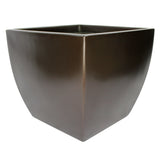Root and Stock Pacifica Square Curved Planter Box Brown Angle