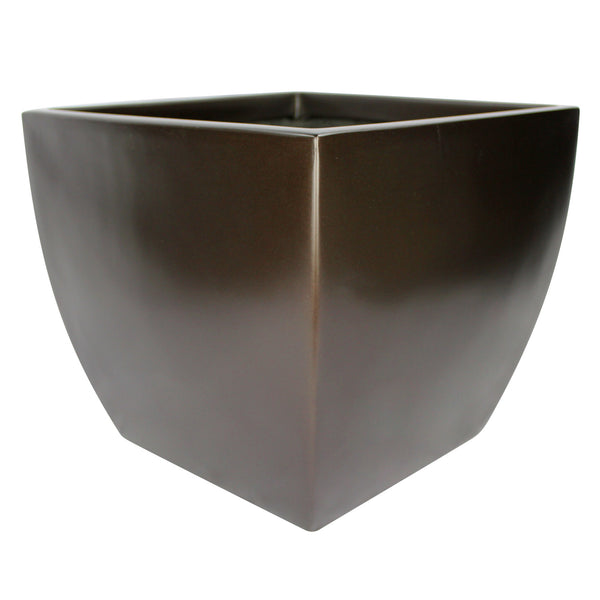 Root And Stock Pacifica Square Curved Planter Box Brown
