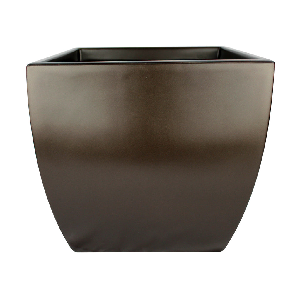 root and stock pacifica square curved planter box  brown -
