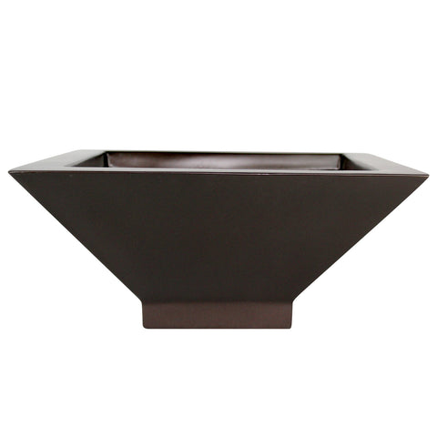 Root and Stock Sausalito Square Bowl Planter Brown Front