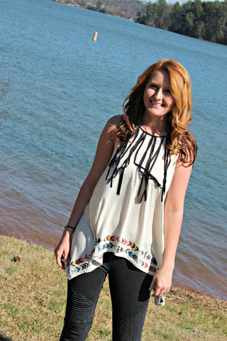 Follow Your Arrow Fringe Top