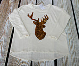 """Oh Deer"" Rhinestone Fleece Long Sleeve Top"