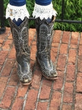 Gray boot topper{ lace}