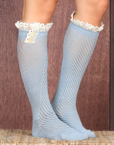 """Baby blues & black""  lace high knee socks"