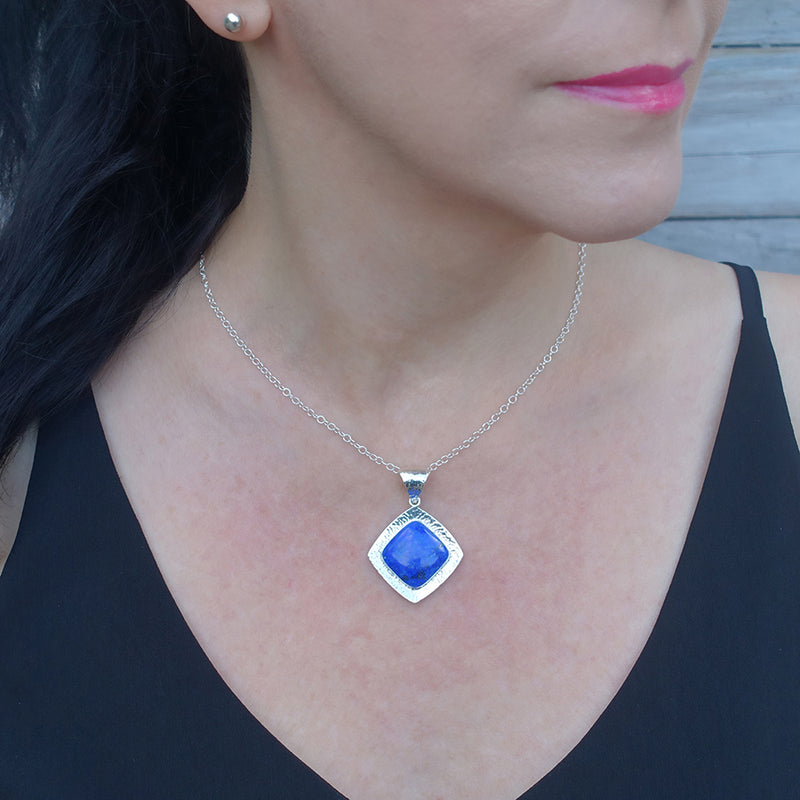 square lapis lazuli and mexican silver pendant necklace