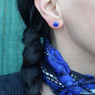 Lapis Lazuli and Mexican Silver Stud Earrings