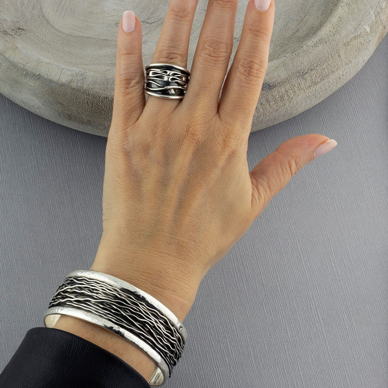 Taxco silver geometric triple drop earrings