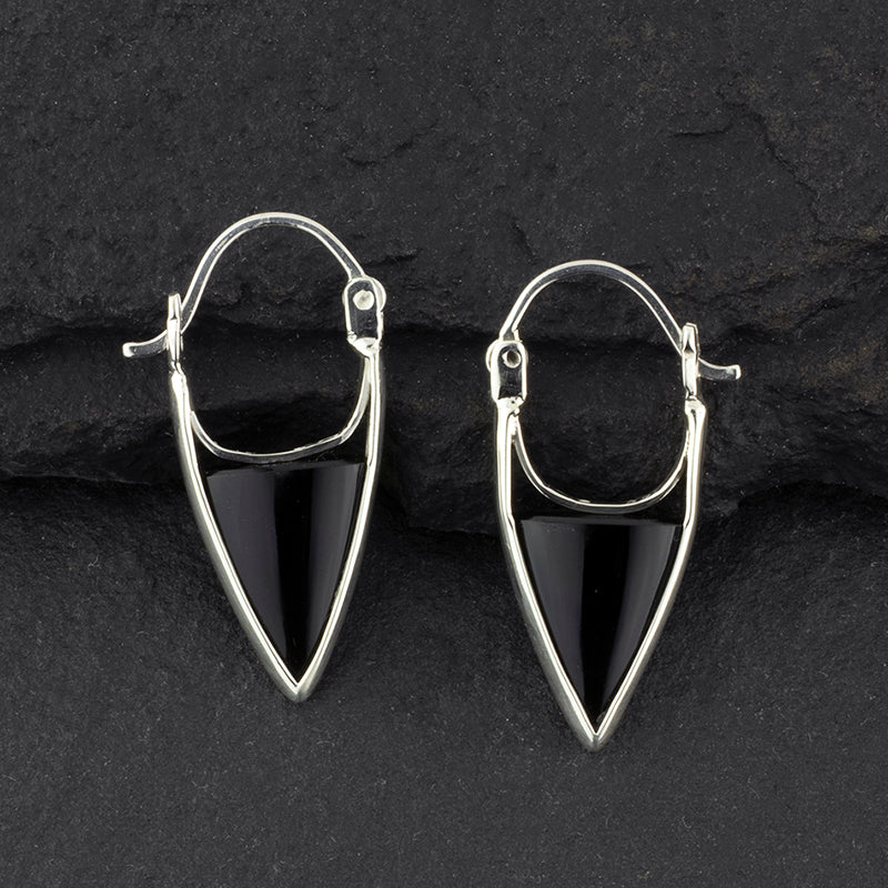 Black onyx triangle hoop earrings