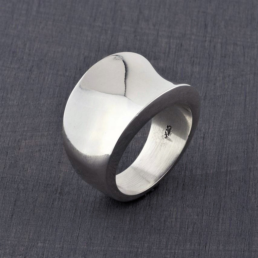 Concave Mexican silver ring