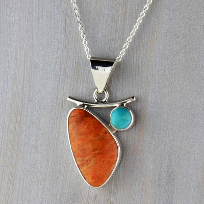 Coral and Turquoise Pendant Necklace from Mexico