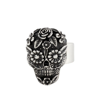 Taxco Mexican sterling silver sugar skull ring